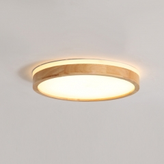 Scandinavian Wooden Round LED Dimmable Ceiling Light