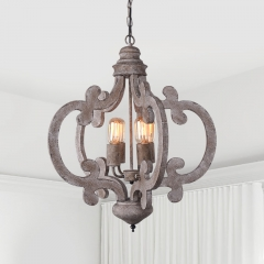 Cottage Vintage 4-Light Chandelier in Distressed Wood and Rusty Steel Finish