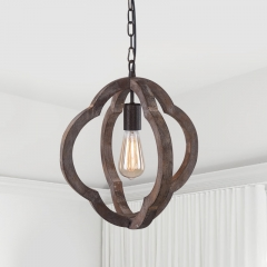 Vintage Wooden 1-Light Hanging Pendant Orb Frame Chandelier for Modern Farmhouse