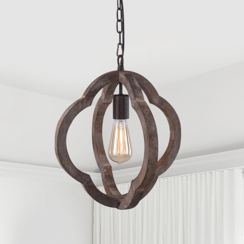 Farmhouse Vintage Wooden 1-Light Hanging Pendant Orb Frame Chandelier for Modern Farmhouse