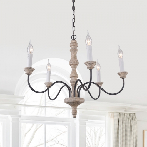 Shabby Chic 5-Light Candle Chandelier with Metal Arms and Distressed Wood For Farmhouse