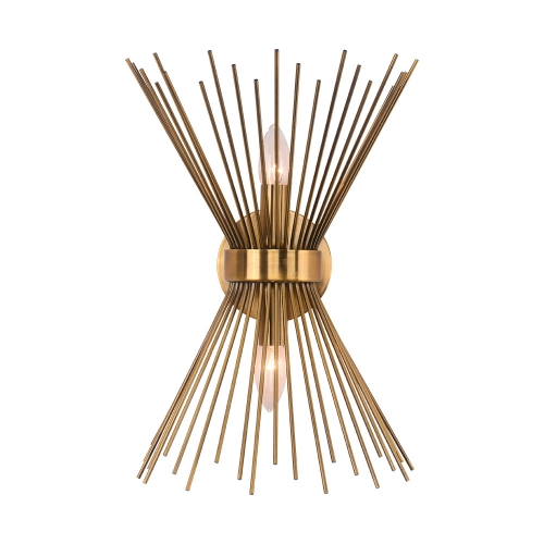 Mid Century Modern Brass 2-Light Sunburst Wall Sconce Up and Down Light