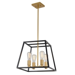 Mid-century Modern Square 4-Light Chandelier in Black and Gold for Entryway/Dining Room/ Kitchen Island