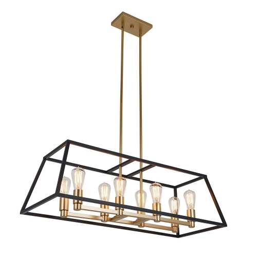 Mid-century Modern Rectangle 8-Light Kitchen Island Chandelier in Black and Gold