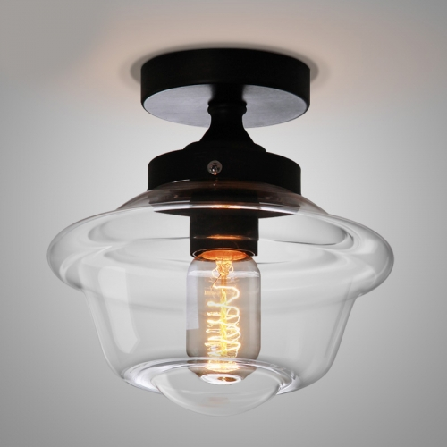 Mini 1-Light Close to Ceiling Lamp with Schoolhouse Clear Glass Shade