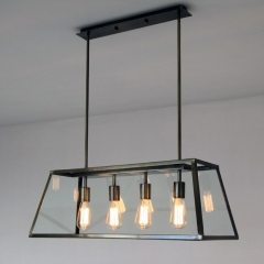 Modern Farmhouse 4-Light Island Chandelier in Black with Retangle Metal Shade