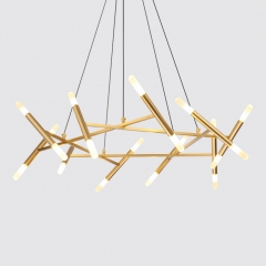 Mid Century Modern 20-Light Geometric Chandelier in Gold