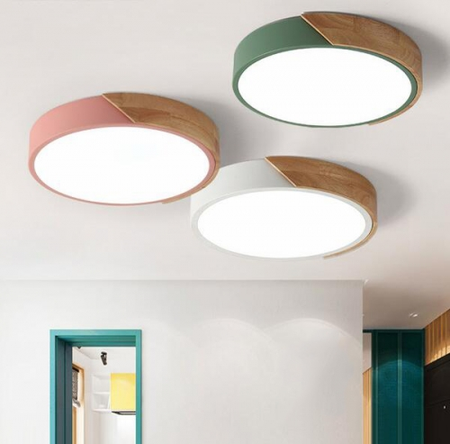 Modern Minimalist Led Round Shaped Wood