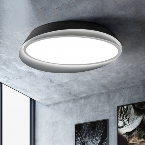 Contemporary Breaking Shell Round LED Ceiling Lamp in Black/White Dimmable