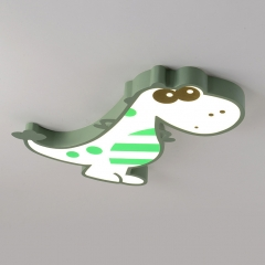 Modern Dimmable LED Green Dinosaur Flush Mount Ceiling Light for Boy's Room