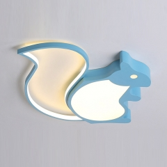 Energy Saving Blue Squirrel LED Ceiling Lamp Dimmable Kid's Room Ceiling Light