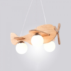 Cool Plane 3-Light Wooden Chandelier for Kid's Room Boy's Room