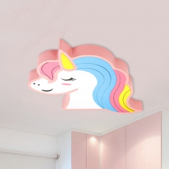 Rainbow Unicorn Horse Dimmable LED Ceiling Light Cool Kid's Lighting Gift