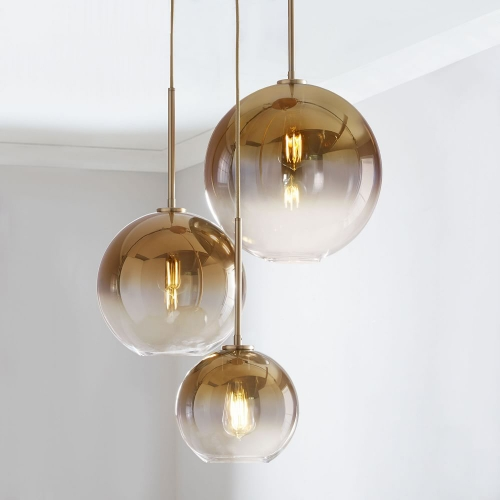 Modern 3-Light Globe Glass Pendant Lamp in Brass with Round Canopy