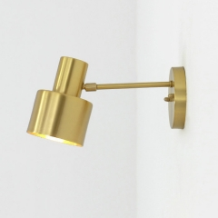 Scandinavian Style 1-Light Spot Wall Sconce in Satin Brass Finish