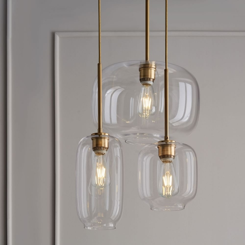 Mid Century Modern Glass Jar Pendant Light in Brass for Kitchen Island Dining Table and Bar Lighting