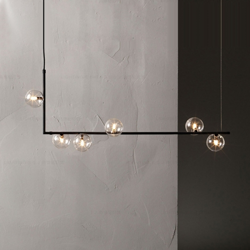 Modern Design 6-Light Linear Bubble Chandelier for Kitchen Island/Long Dining Table