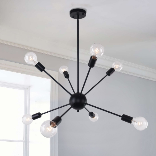 Black 8-Light Sputnik Chandelier Height Adjustable and Sloped Ceiling Compatible for Modern Farmhouse
