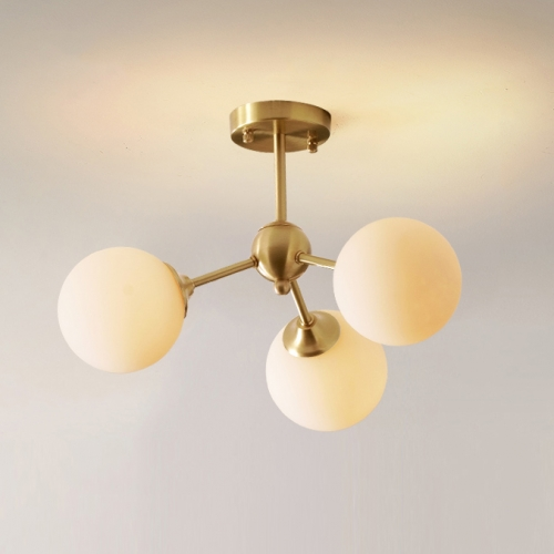 Mid Century Modern 3-Light Brass Ceiling Lamp with Opaline Shade for Bedroom/Living Room Lighting