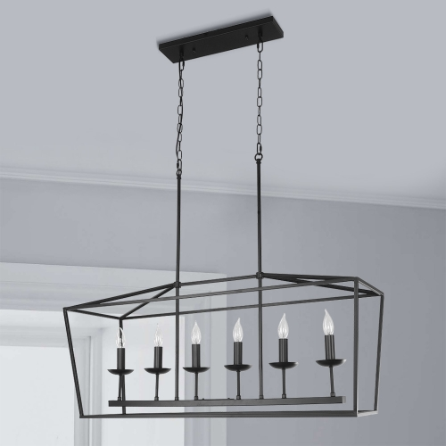 Lights Linear Chandelier In Matte Black