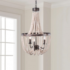 3-Light Wood Bead Empire Chandelier in Antique Bronze Modern Farmhouse Lighting
