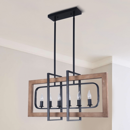 6-Light Retangle Chandelier Wooden Kitchen Island Chandelier for Modern Farmhouse Slanted Ceiling Compatible