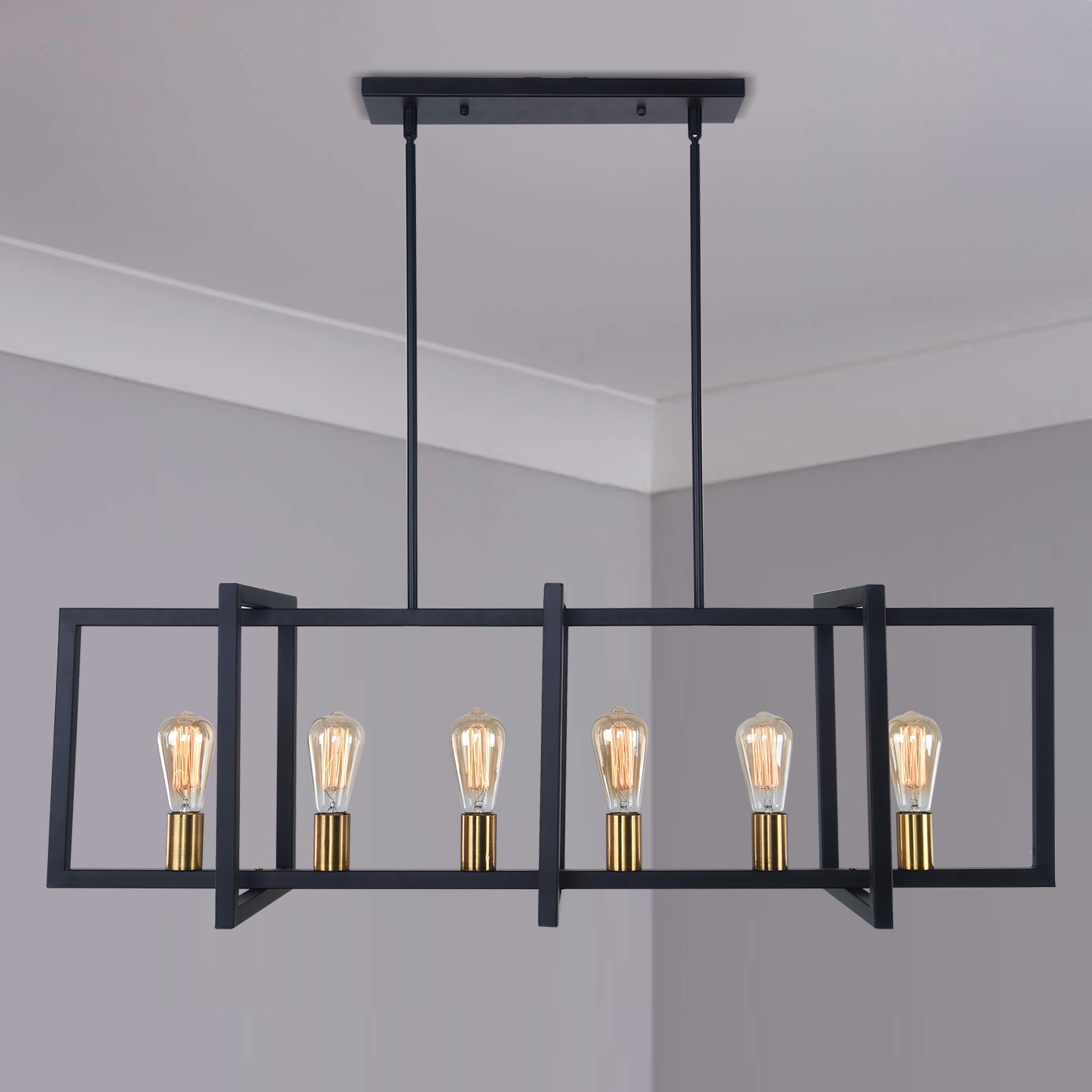 modern linear 6 light rectangle chandelier in black and