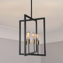 Modern Farmhouse 4-Light Square Geometric Chandelier in Matte Black Sloped Ceiling Compatible