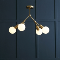 Mid Century Modern 6-Light Brass Branching Chandelier