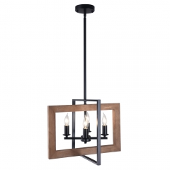 4-Light Square Wood Chandelier, Farmhouse Kitchen Island Lighting Industrial Lighting