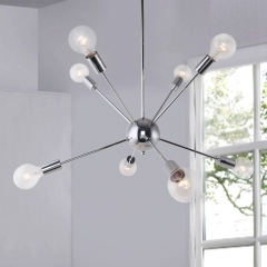 Chrome 8-Light Sputnik Chandelier for Modern Farmhouse Height Adjustable and Sloped Ceiling Compatible