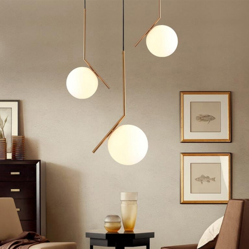 Modern Design 1 Light Globe Pendant Light with Opal Glass Shade