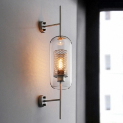 Modern Farmhouse Cylindrical Glass 1-Light Antique Brass Wall Sconce for Hallway Living Room