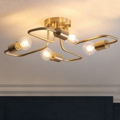 Mid Century Modern Curved Arm 4-Light Semi Flush Ceiling Light in Brass Metal