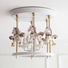 "16"" Wide Kid's Ceiling Light White Merry-Go-Round 5 light Flush Mount Light Iron/Resin for Nursery"