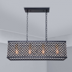 Mid Century Modern 4 Light Linear Crystal Chandelier Rectangular Metal Cage Chandelier with Crystal Beads for Kitchen Dining Room Lighting