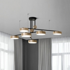 "Dimmable 59"" Wide Mid Century Luxury 6-Light Chandelier with Removable Arms in Gold&Black for Living Room"