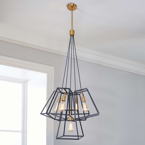 Modern Industrial 5-Light Cluster Pendant Light with Metal Cage in Matte Black for Kitchen Island/Bar/Dining Table Lighting