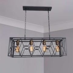 Modern 4 Light Metal Linear Farmhouse Chandelier in Matte Black and Brass  for Kitchen Island/Long Dining Table