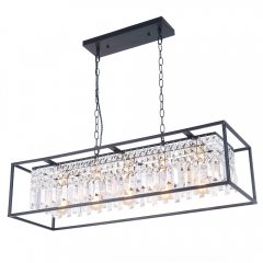 Modern Farmhouse Crystal Strips 5 Light Linear Chandelier Matte Black for Kitchen Island Sloped Ceiling Compatible