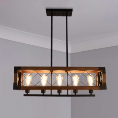 Linear Wooden Chandelier 5-Light Rectangular Chandelier for Kitchen Lighting Modern Farmhouse Style