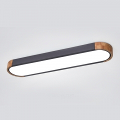 Modern Grey Dimmable LED Ceiling Light with Metal & Wood for Bedroom and living Room