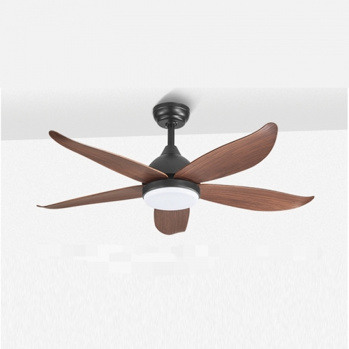 Dimmable Mid Century Modern Fan Ceiling Light In Black And Brown For Living Room Ceiling Fans