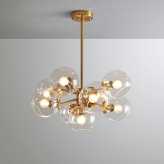 Mid Century Modern 9-Light Chandelier with Clear Globe Glass in Gold Finish for Kitchen Island Bedroom