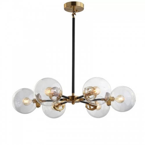 Mid-Century Modern Radial Globe Chandelier with Clear Glass Shade