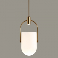 Mid Century Modern Chic 1 Light Pendant With Mouth-blown Glass Bell