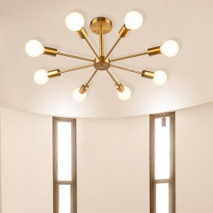 Mid-century 8-Light Sputnik Chandelier Semi-flush Ceiling Light