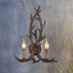 Contemporary Style Brown Antler Shape 2-Light Candle Wall Sconce for Bedroom/Reading Room