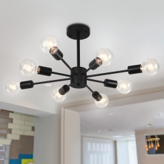 8-Light Modern Linear Semi Flush Mount Sputnik Light