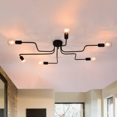 6-Light Linear Modern Semi-flush Mount Ceiling Light For Living Room Bedroom